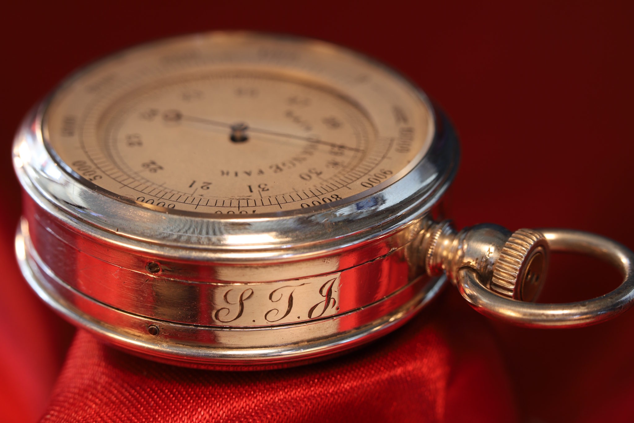 Image of French Silver Pocket Barometer Compendium c1895
