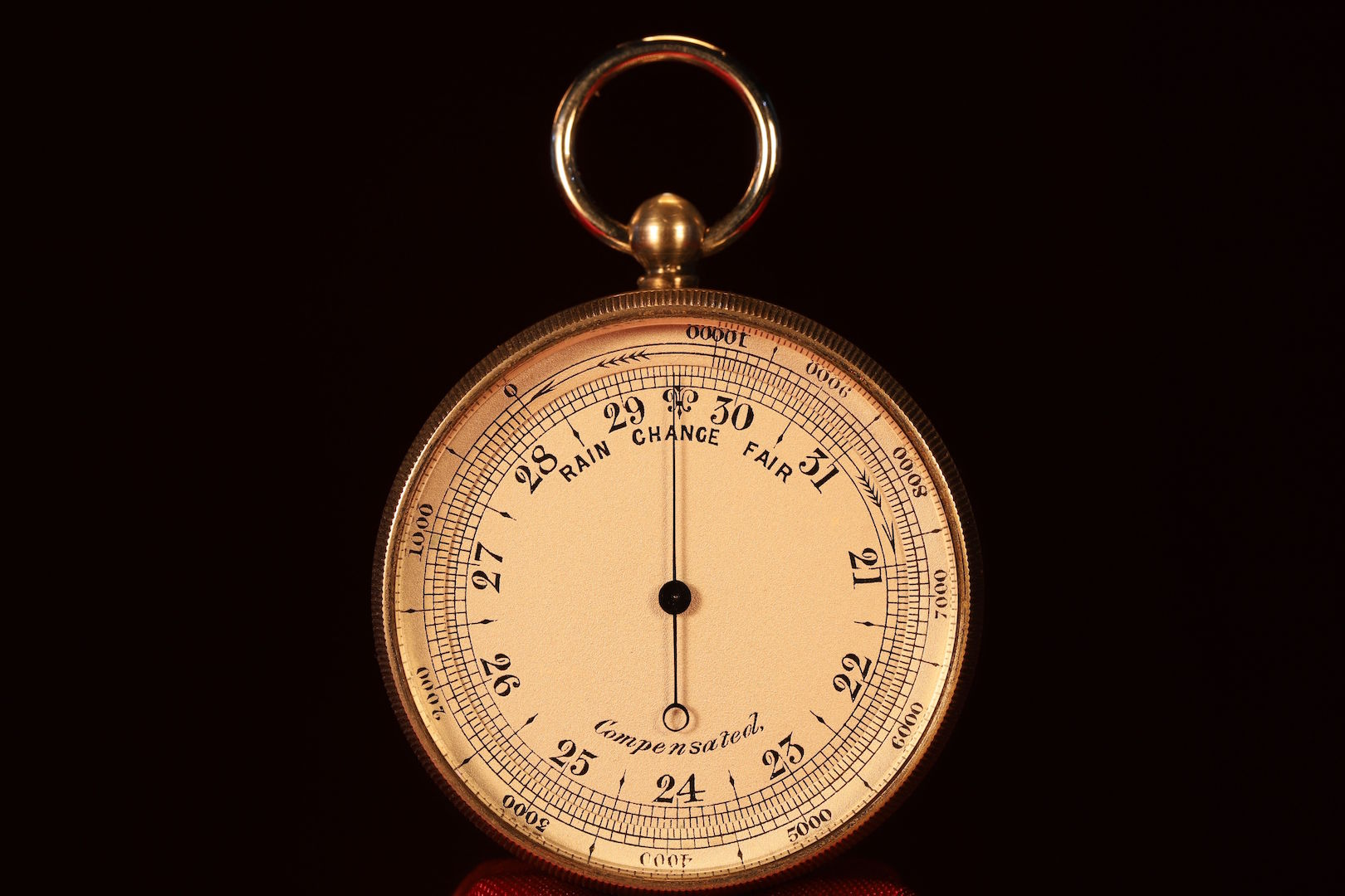 Image of Nickel Brass Pocket Barometer Altimeter Compass Compendium c1880