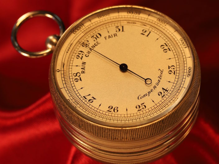 NICKEL BRASS POCKET BAROMETER ALTIMETER COMPASS COMPENDIUM c1880
