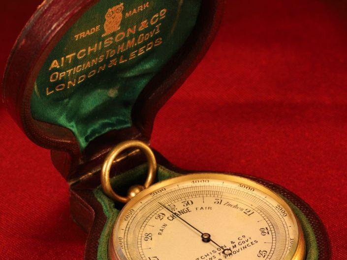 ANTIQUE POCKET BAROMETER ALTIMETER BY NEGRETTI & ZAMBRA FOR AITCHISON c1915 - Sold