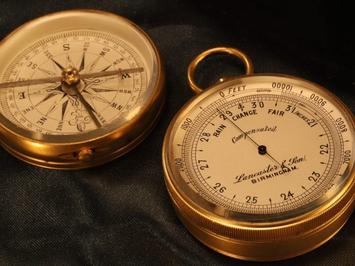 POCKET BAROMETER ALTIMETER COMPASS COMPENDIUM BY LANCASTER & SON c1890