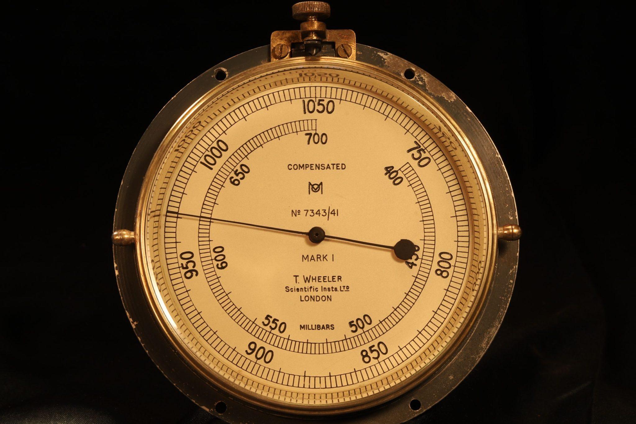 Image of Wheeler Submarine Compartment Aneroid Pressure Gauge No 7343 c1941