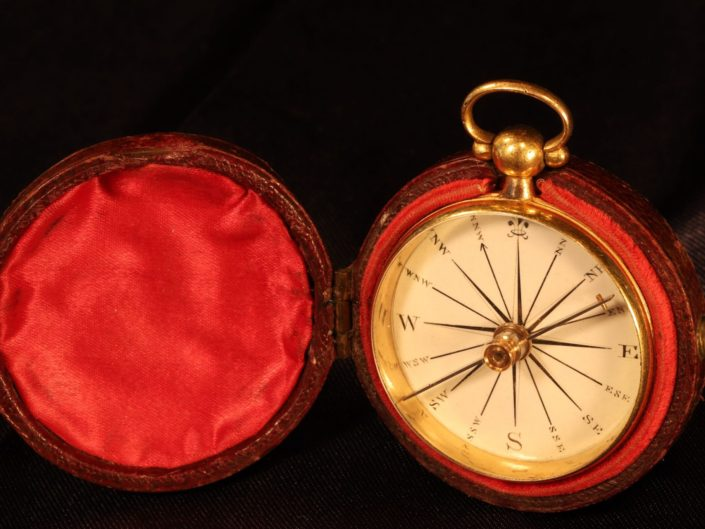 RARE GEORGIAN GILT BRASS COMPASS c1835