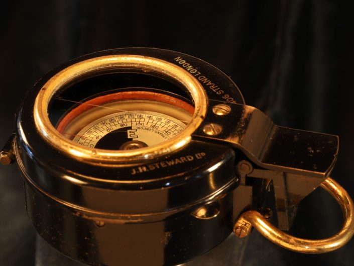 RARE WWI JH STEWARD LIQUID PRISMATIC COMPASS c1916 - Sold