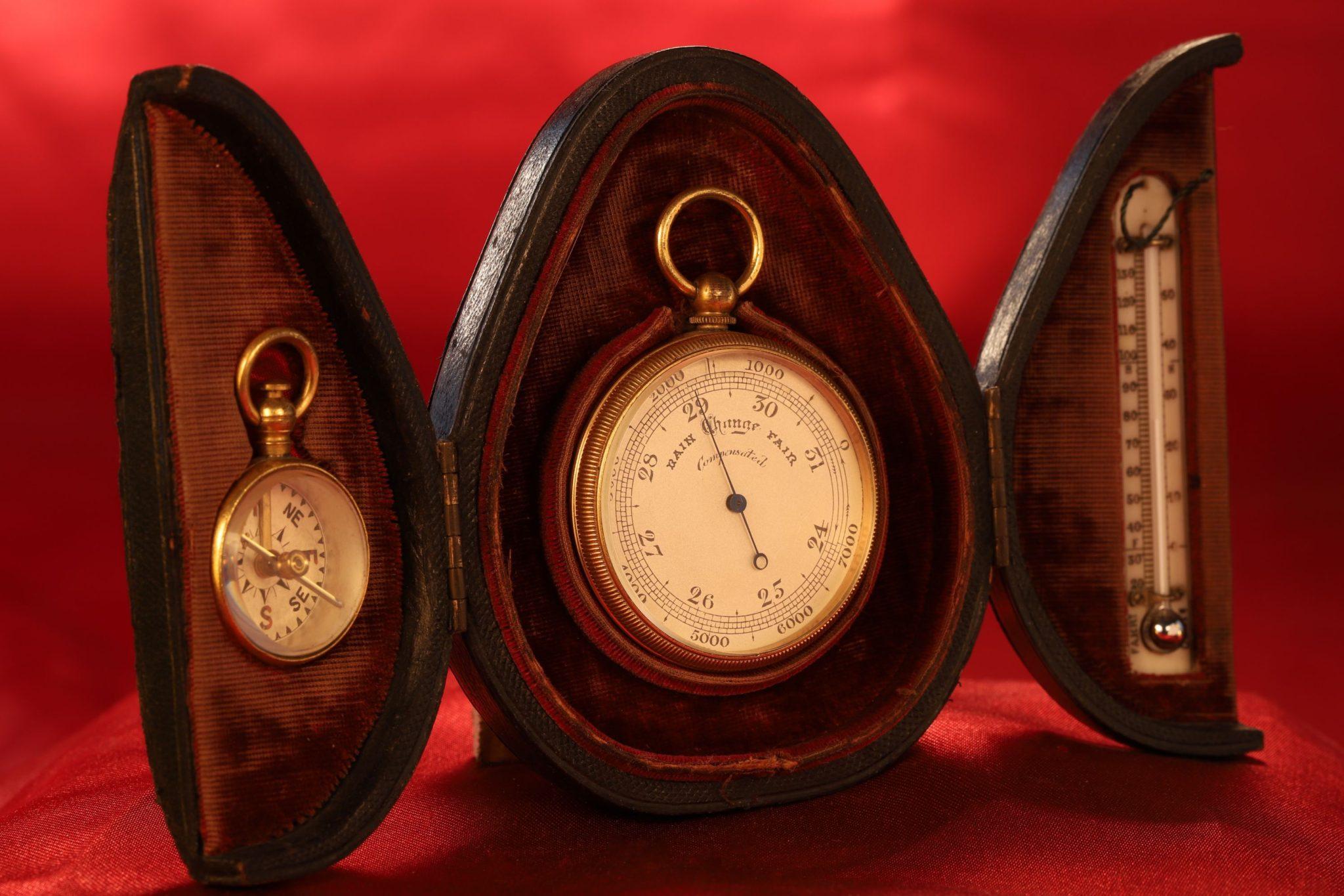 Image of Victorian Pocket Barometer Travel Compendium c1880