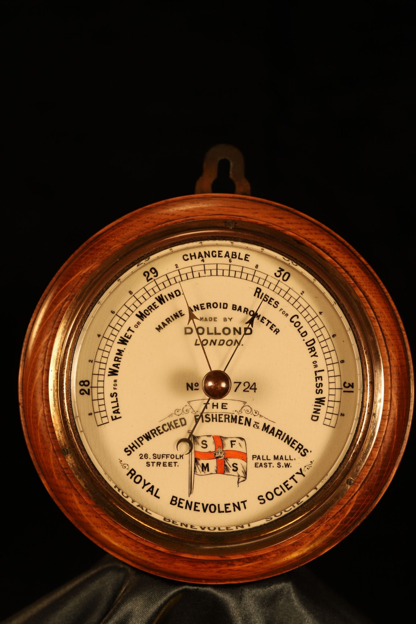 Image of Dollond Shipwrecked Fishermen & Mariners Society Marine Barometer No 724 c1900