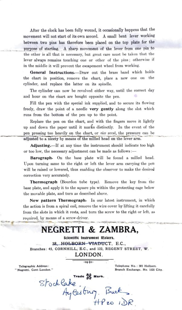 "Image of page 2 of original leaflet: Directions for setting in action Negretti & Zambra's Self-Recording Barometers, Thermometers, etc"" c1910"