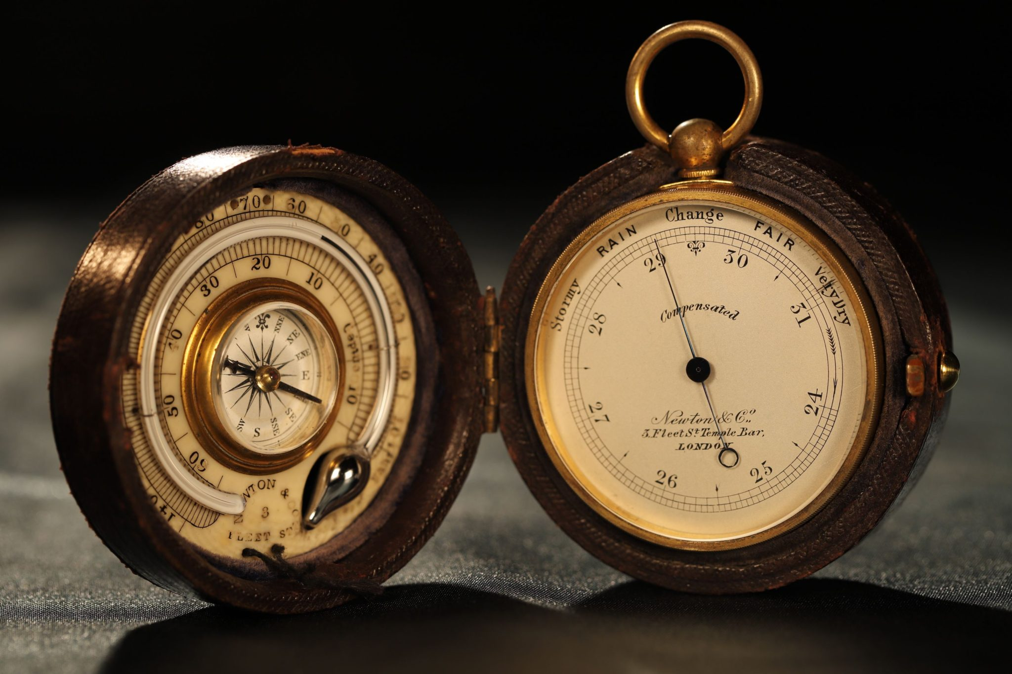 Image of Pocket Barometer Compendium by Elliott Retailed by Newton c1865