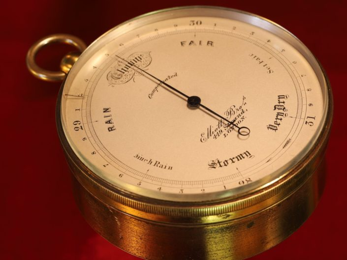 ANTIQUE POCKET BAROMETER WITH VERY UNUSUAL DOUBLE FUSEE BY ELLIOTT c1870