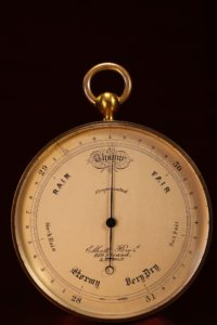 Image of Antique Pocket Barometer with Very Unusual Double Fusee by Elliott Brothers c1870