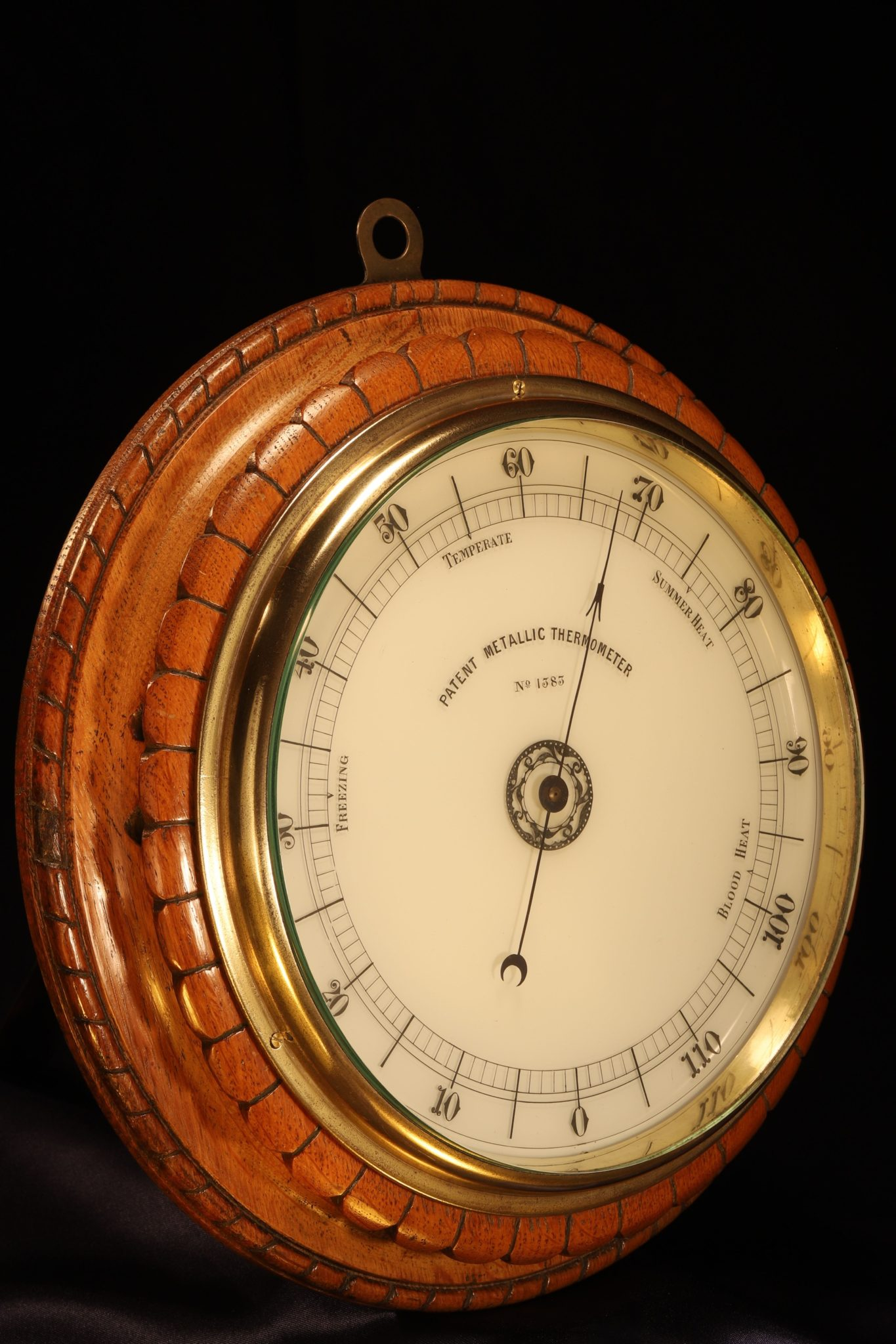 Image of Victorian Wall Mounted Metallic Thermometer c1882