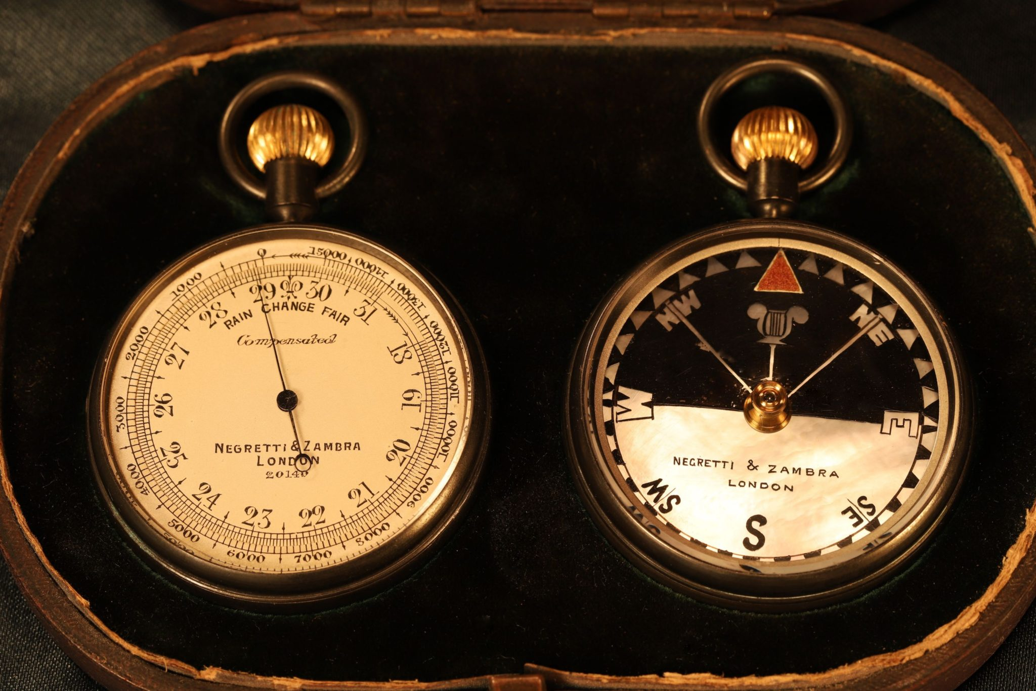Image of Negretti & Zambra Pocket Barometer Travel Compendium No 20140 c1910