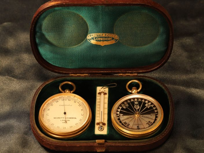 NEGRETTI & ZAMBRA POCKET BAROMETER TRAVEL COMPENDIUM No 9886 c1905