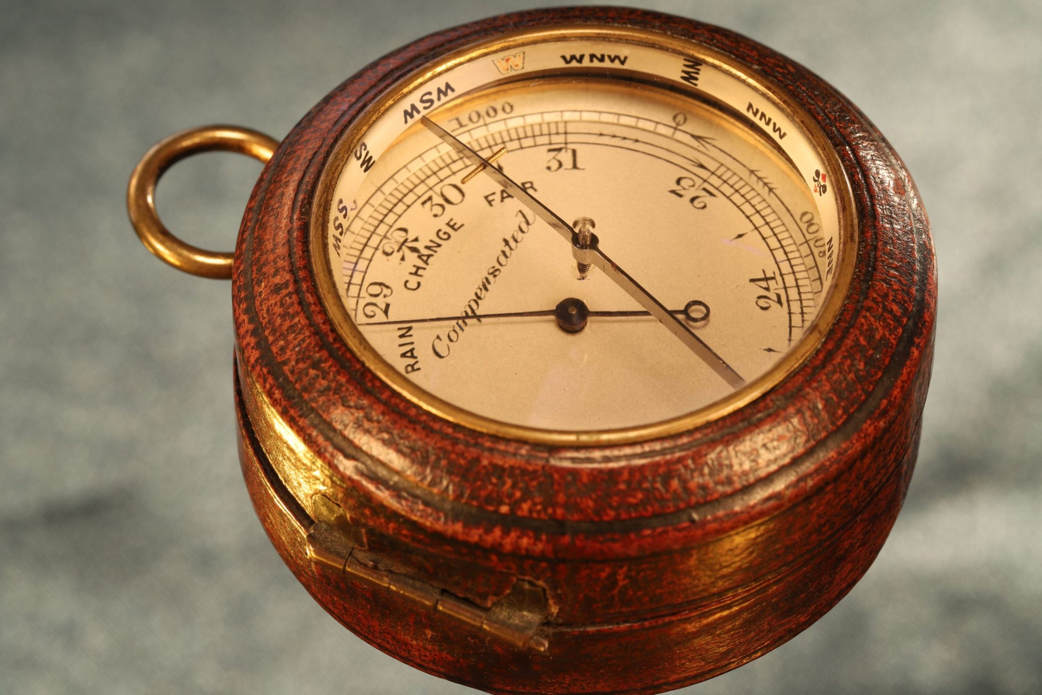 Image of Negretti & Zambra Pocket Barometer with Magnifying Compass c1910