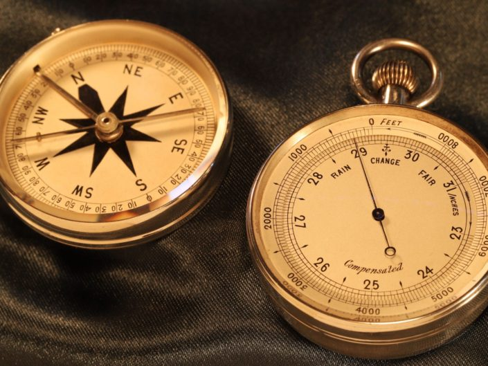 SILVER POCKET BAROMETER COMPASS COMPENDIUM WITH CASE BY RICHARD OLIVER c1887