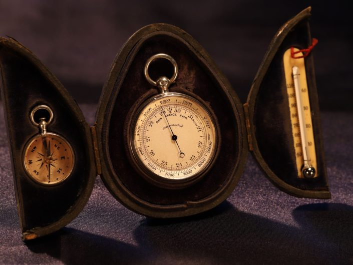 MINIATURE SILVER POCKET BAROMETER COMPENDIUM WITH CASES BY NIGHTINGALE c1895