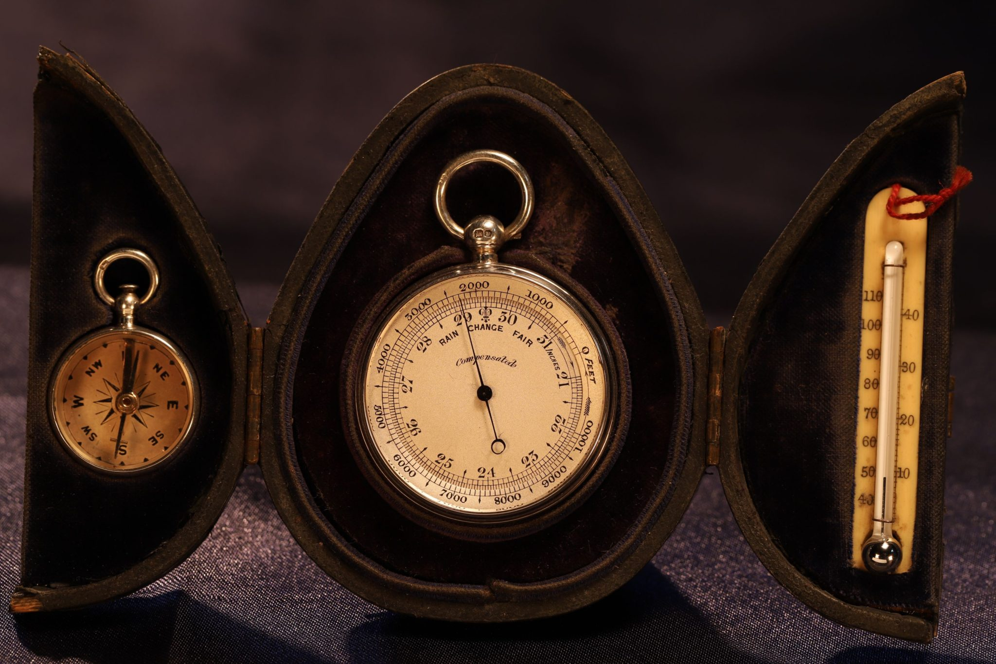 Image of Silver Pocket Barometer Compendium in Case by Lewis Nightingale c1895