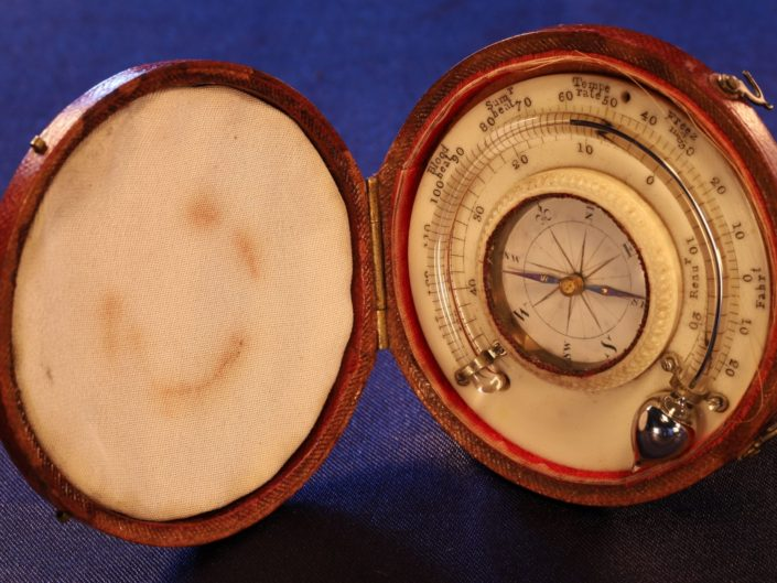 RARE GEORGIAN TRAVEL COMPASS THERMOMETER COMPENDIUM c1790