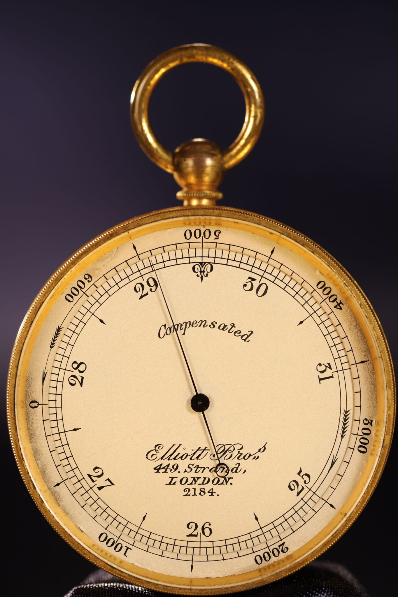 Image of Elliott Brothers Antique Pocket Barometer No 2184
