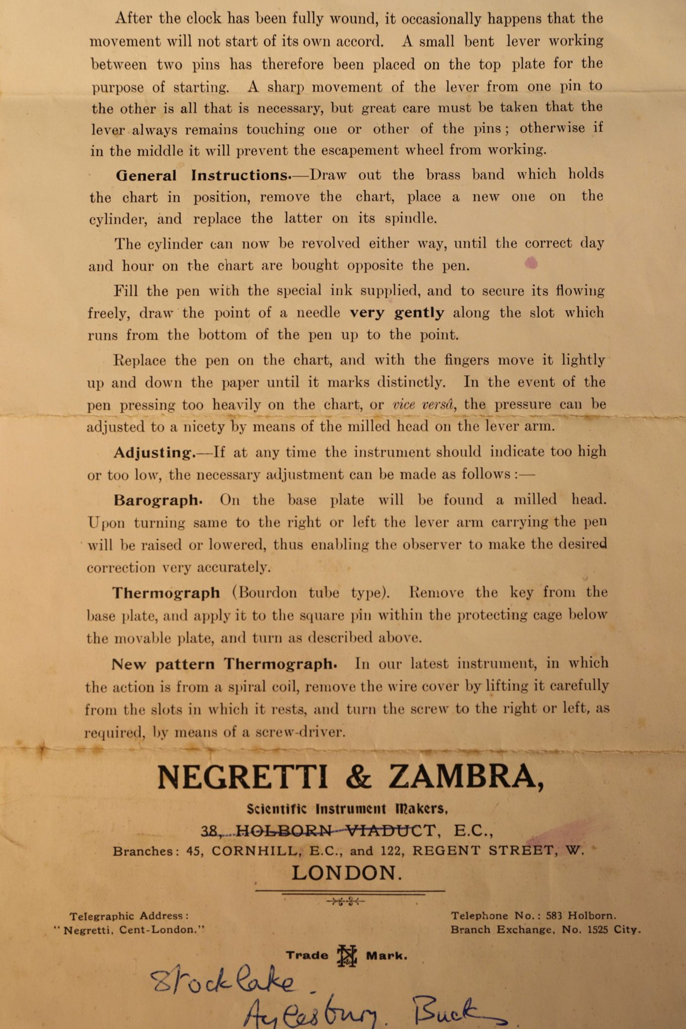 Image of Negretti & Zambra Barograph Instructions