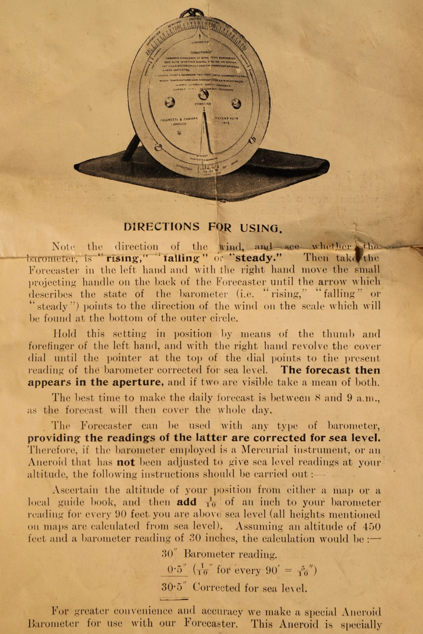 Image of Negretti & Zambra Brass Forecaster & Weather Aneroid Instructions