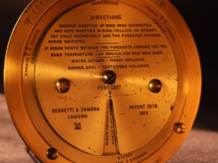NEGRETTI & ZAMBRA BRASS WEATHER FORECASTER c1925