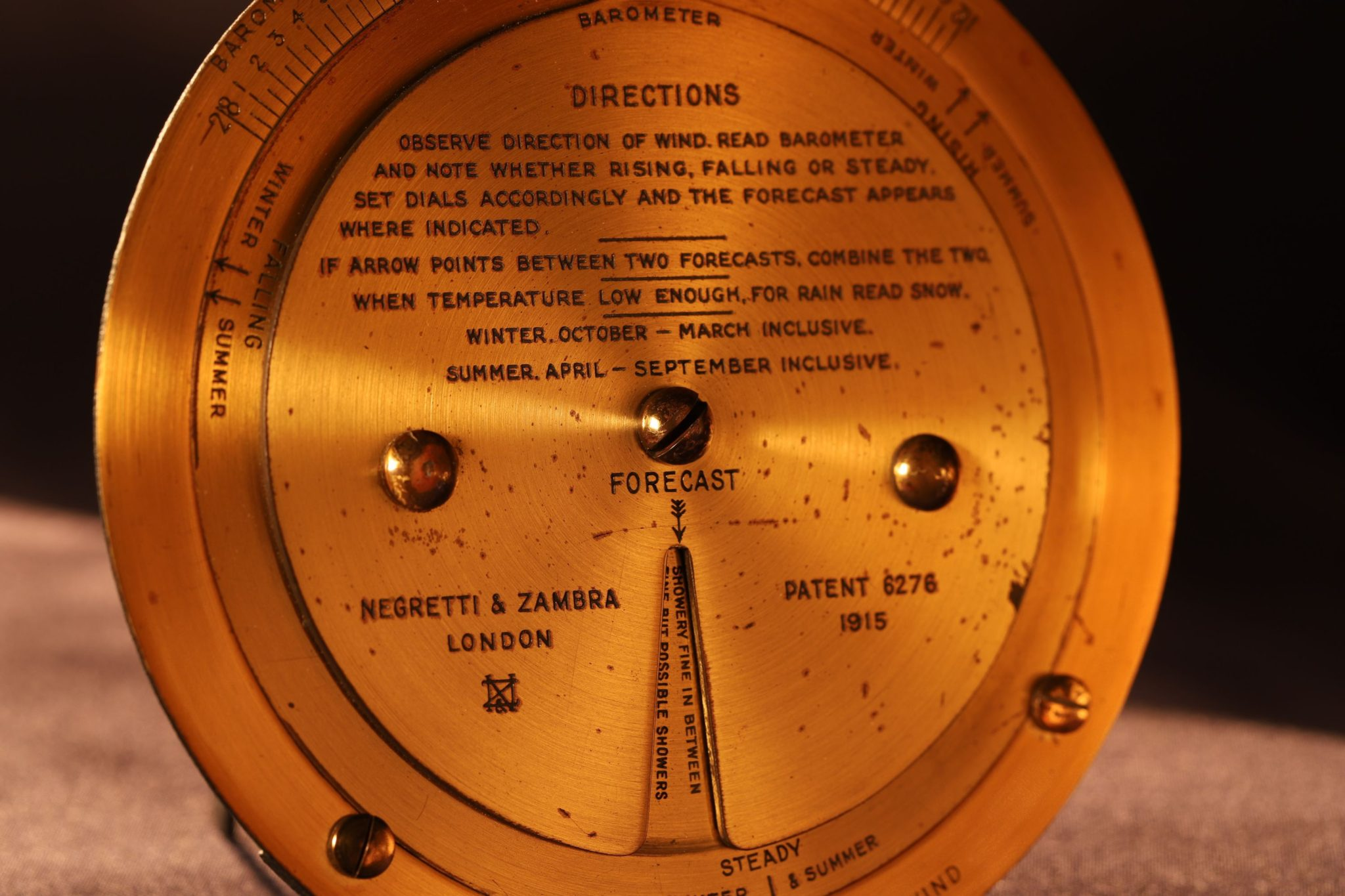 Image of Negretti & Zambra Brass Weather Forecaster c1925