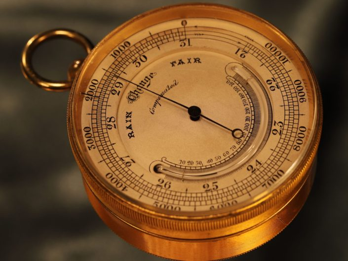 ANTIQUE POCKET BAROMETER ALTIMETER AND THERMOMETER COMPENDIUM BY ROSS c1880