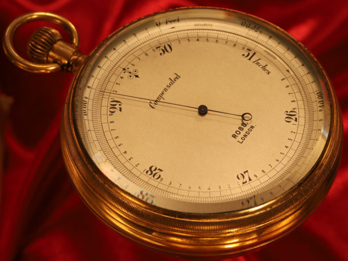 INTERESTING LARGE POCKET BAROMETER BY ROSS c1909 WITH IAN FLEMING FAMILY PROVENANCE
