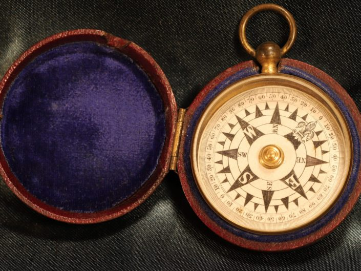 ANTIQUE GILT BRASS NAUTICAL PATTERN POCKET COMPASS c1850 - Sold