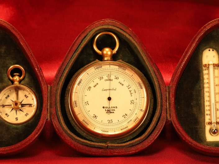 ANTIQUE POCKET BAROMETER TRAVEL COMPENDIUM BY DOLLOND c1900