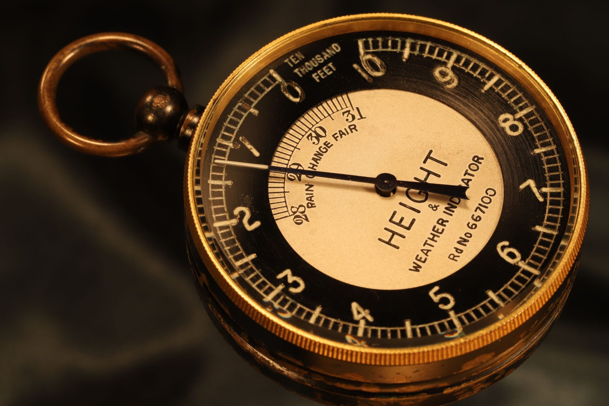 Image of Height & Weather Indicator Pocket Barometer Altimeter by Wheeler c1925
