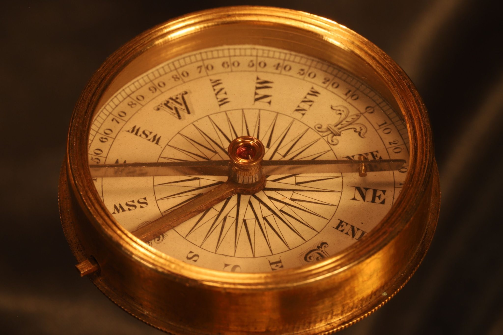 Image of Early Victorian Brass Explorers Compass c1850