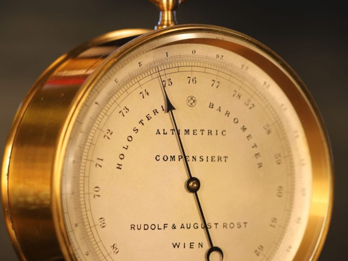 ANEROID BAROMETER ALTIMETER BY NAUDET RETAILED BY ROST c1875