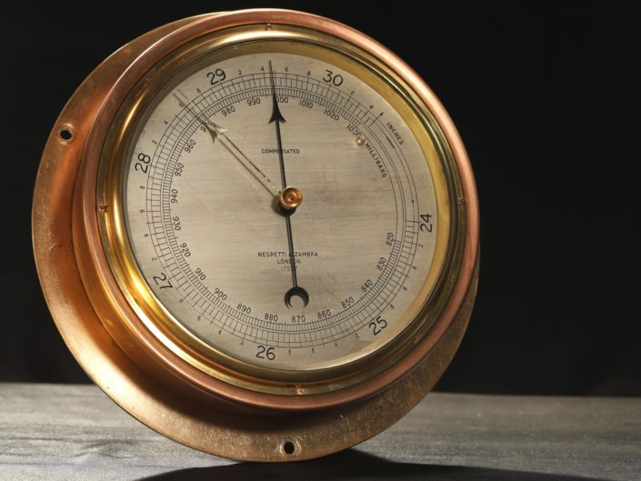SUBMARINE PATTERN ANEROID BAROMETER BY NEGRETTI & ZAMBRA No 17537 c1940 - Sold