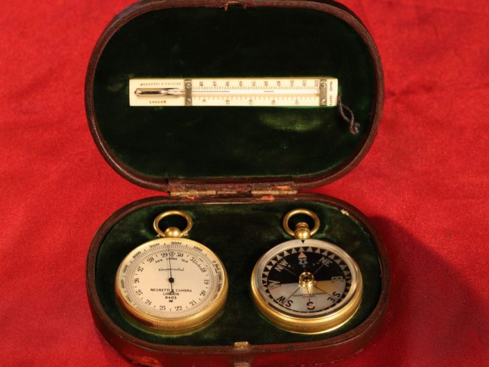 ANTIQUE POCKET BAROMETER TRAVEL COMPENDIUM BY NEGRETTI & ZAMBRA No 8403 c1919