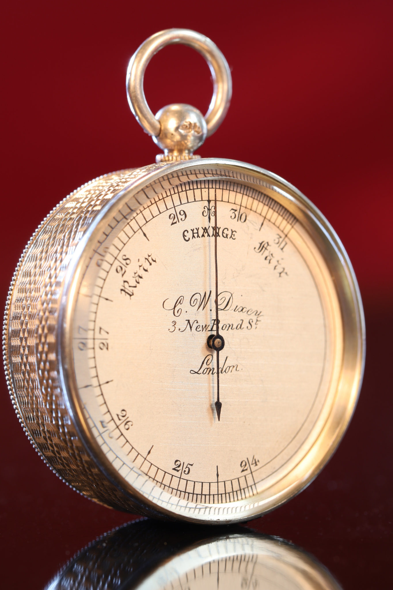 Image of Miniature Silver Pocket Barometer No 66 by Dixey c1863