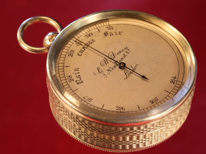VERY EARLY MINIATURE SILVER POCKET BAROMETER BY DIXEY No 66 c1863