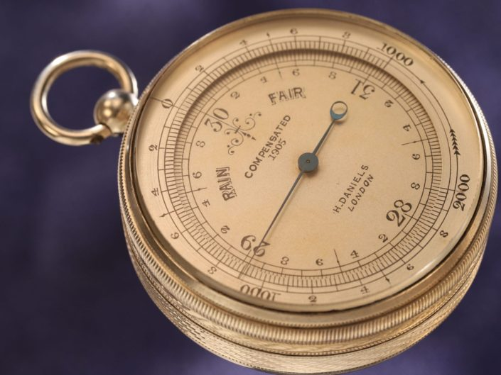 GERMAN SILVER POCKET BAROMETER RETAILED BY DANIELS No 1905 c1885 - Sold