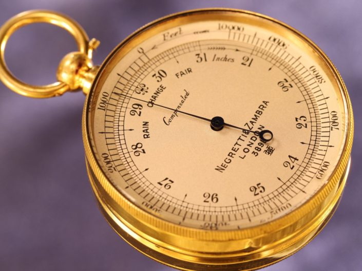 ANTIQUE GILT POCKET BAROMETER BY NEGRETTI & ZAMBRA No 3989 c1910