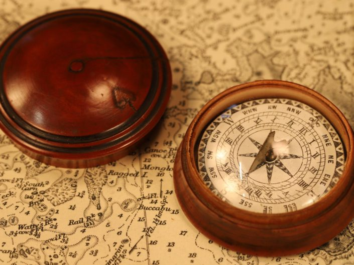ANTIQUE MAGNETIC SUNDIAL AND POCKET COMPASS AFTER PORTER c1850