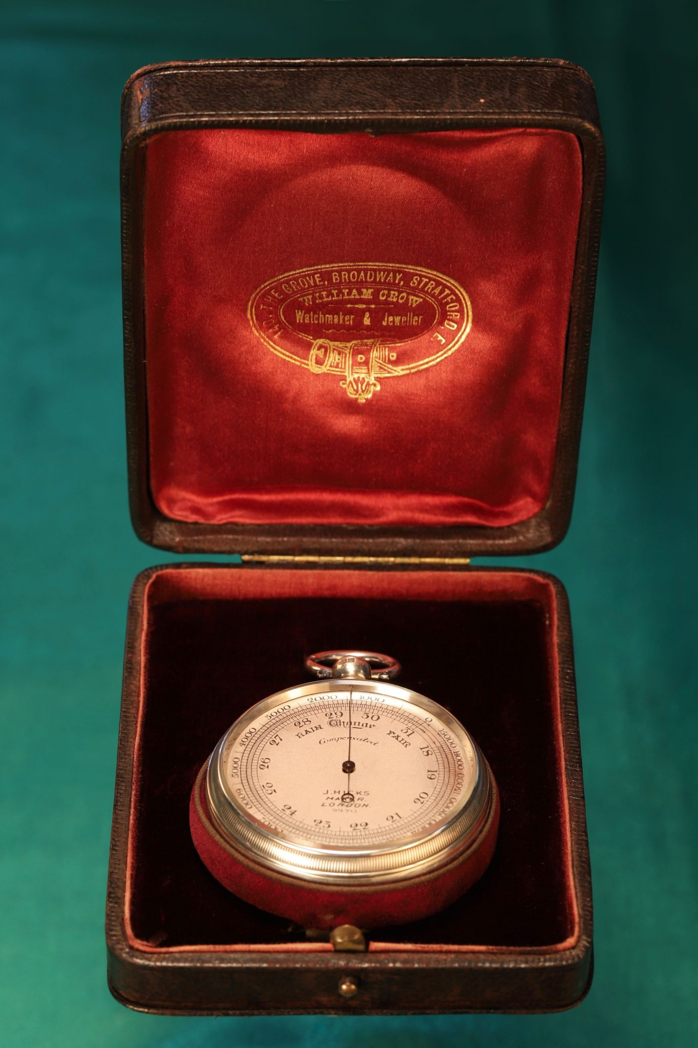 Image of Silver Pocket Barometer by Hicks No 9970 c1912