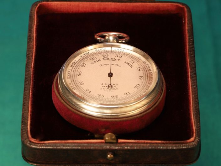 SILVER POCKET BAROMETER BY HICKS No 9970 WITH CASE BY OLIVER c1912 - Reserved