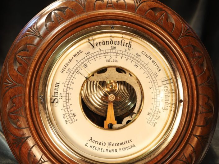 ANTIQUE WALNUT ANEROID BAROMETER BY HECHELMANN c1895 - Sold