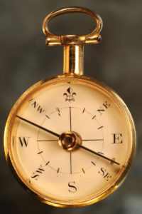 Image of Miniature Long Necked Gilt Brass Compass in Case c1820