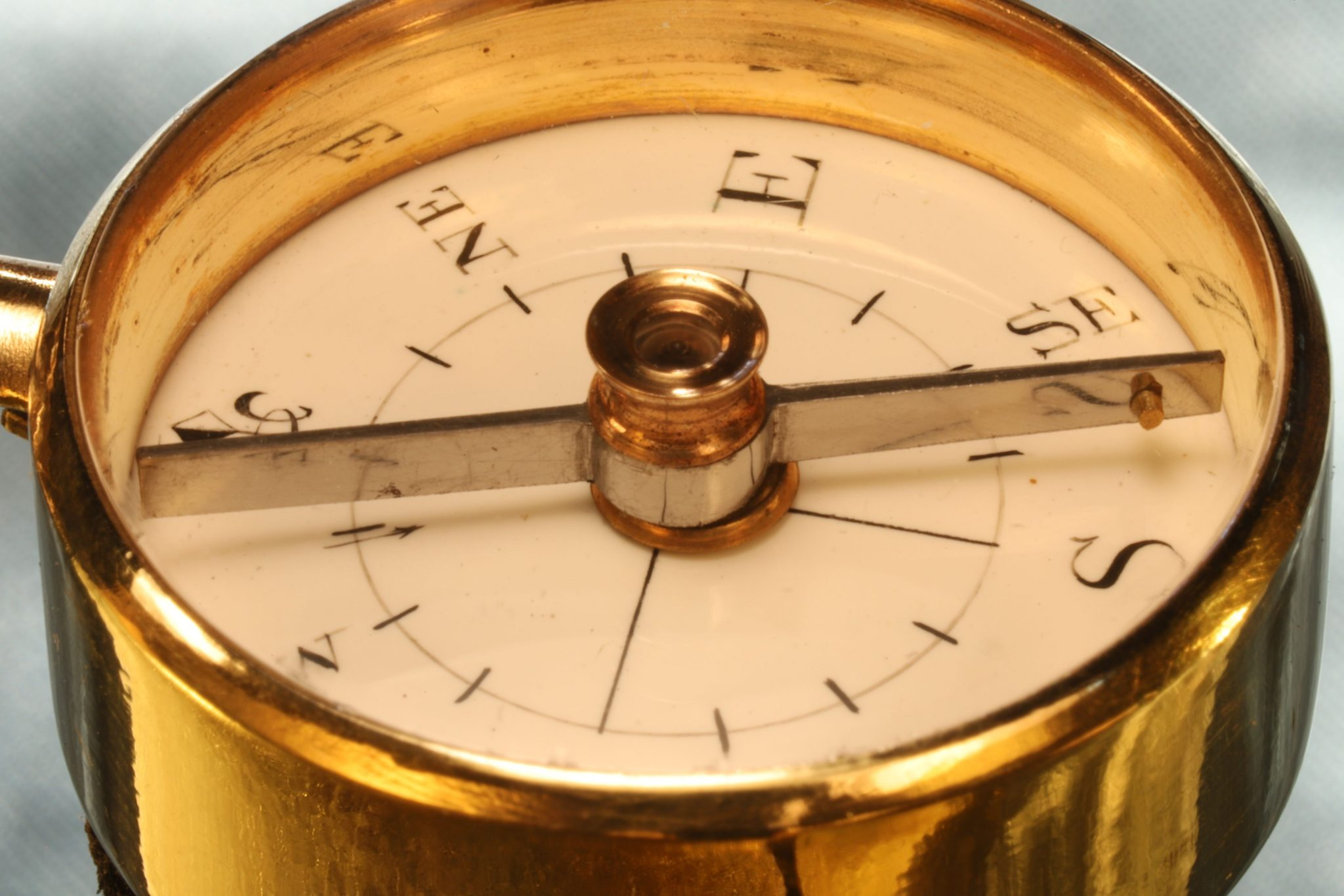 Image of Miniature Long Necked Gilt Brass Compass in Case c1800