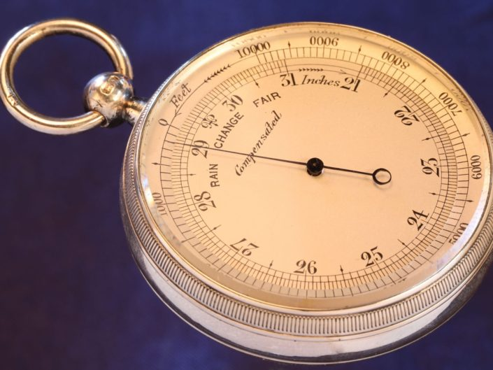 SILVER POCKET BAROMETER BY NEGRETTI & ZAMBRA WITH CASE BY OLIVER c1908 - Sold