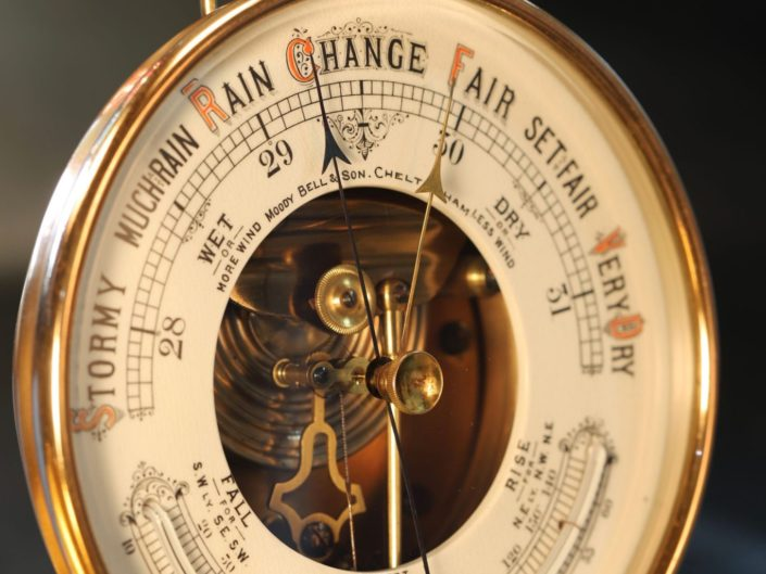 OPEN DIAL ANEROID BAROMETER RETAILED BY MOODY BELL & SON c1890 - Sold