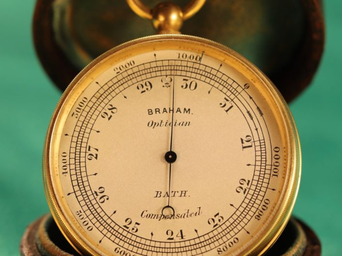 ANTIQUE POCKET BAROMETER BY NEGRETTI & ZAMBRA FOR BRAHAM c1870 - Sold