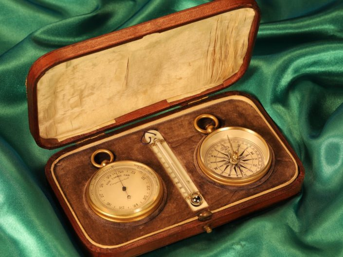 VICTORIAN POCKET BAROMETER TRAVEL COMPENDIUM c1890